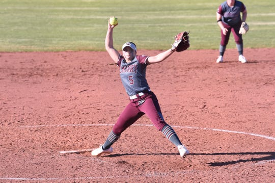 McMurry pitcher Hope Schoeneman (5) gets set to deliver to the plate during the inaugural game at Edwards Field on Feb. 16. The War Hawks scored in the bottom of the sixth for a 1-0 win.