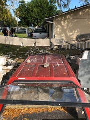 A retaining wall at a Taco Bell resturant was heavily damaged after a pickup accidentally ran into it.