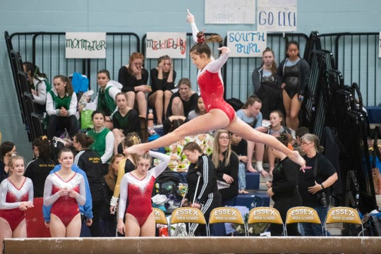 CVU's Taylor Hoar competes in the beam routine during the Vermont state high school gymnastics championship at Essex High School on Saturday afternoon February 15, 2020 in Essex, Vermont.