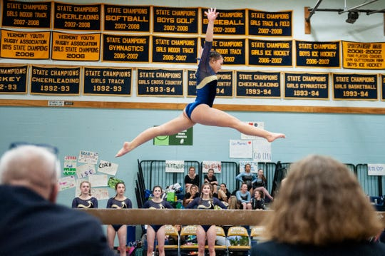 Essex's Anna Pringle-Corcoran competes in the beam during the Vermont state high school gymnastics championship at Essex High School on Saturday afternoon February 15, 2020 in Essex, Vermont.