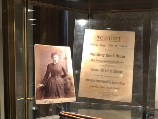 The Gloucester County Historical Society's current exhibit,'Remember the Ladies: A Celebration of Women's History and Suffrage,' includes a flier from an anti-suffrage meeting in Woodbury.