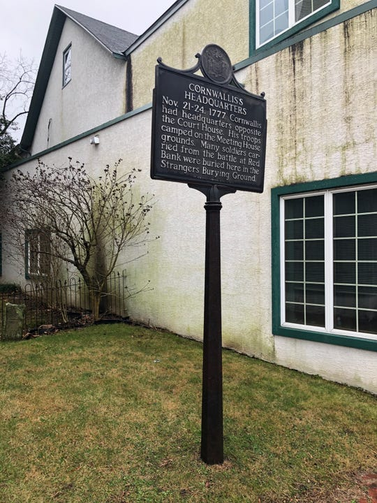 A historic marker at the small burial ground between the Hunter-Lawrence-Jessup House and a Quaker meeting house next door notes that British Gen. Charles Cornwallis camped at the meeting house. Soldiers killed at the Battle of Red Bank during the Revolution are buried on the grounds.