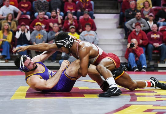Iowa State's Sam Colbray takes down UNI's Bryce Steiert during their 174-pound wrestling match at Hilton Coliseum on Sunday, Feb. 16, 2020, in Ames, Iowa. Colbray won the match by decision.