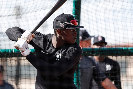 Outfielder Daz Cameron practices during Detroit Tigers spring training at TigerTown in Lakeland, Fla., Sunday, Feb. 16, 2020.