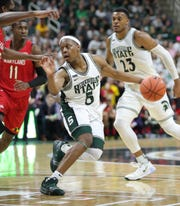 Michigan State guard Cassius Winston drives against Maryland during the second half Saturday, Feb. 15, 2020 at the Breslin Center in East Lansing.