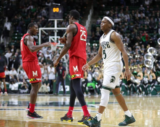Michigan State guard Cassius Winston walks off the court after the 67-60 loss to Maryland, Saturday, Feb. 15, 2020 at the Breslin Center in East Lansing.