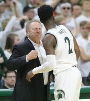 Michigan State coach Tom Izzo talks to Rocket Watts during action against Maryland on Saturday, Feb. 15, 2020 at the Breslin Center in East Lansing.