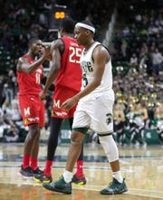 Cassius Winston walks off the court after the 67-60 loss to Maryland on Saturday.