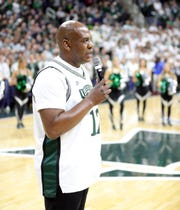New football coach Mel Tucker addresses Michigan State fans during MSU vs. Maryland, Saturday, Feb. 15, 2020 at the Breslin Center in East Lansing.