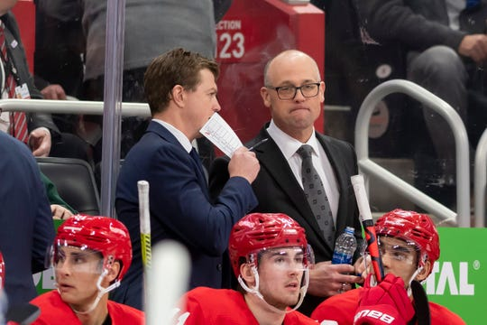 Red Wings coach Jeff Blashill, right, says he feels there are a lot more opportunities for girls to play hockey in the United States than before.