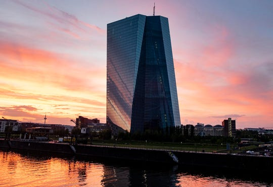 This June 22, 2019, file photo shows the European Central Bank during sunset in Frankfurt, Germany.