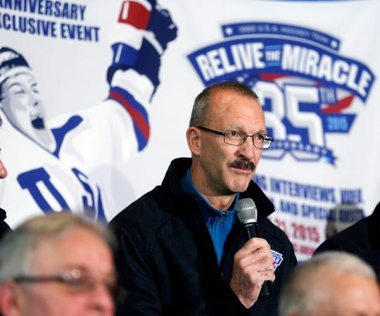 Flint's Ken Morrow of the 1980 U.S. Olympic hockey team speaks during a news conference in 2015 in Lake Placid, N.Y.