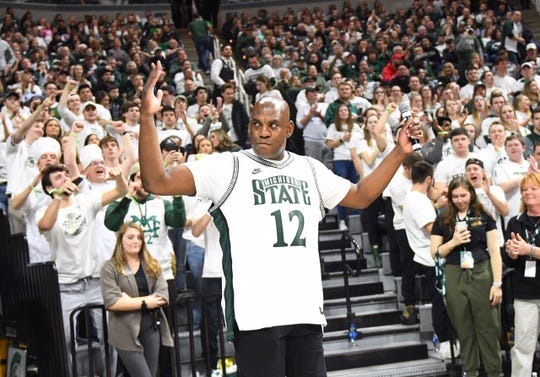 New MSU football coach Mel Tucker speaks to the fans at Saturday's basketball game at Breslin Center.