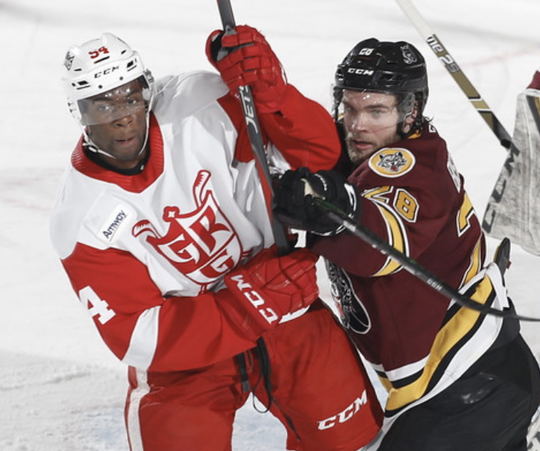 Grand Rapids forward Givani Smith, left, scored two goals in a 5-2 win in Chicago.