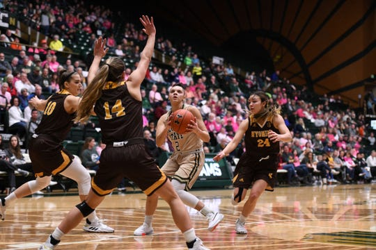 CSU basketball player Tori Williams drives against Wyoming on Saturday, Feb. 15, 2020. The Rams lost 43-40.