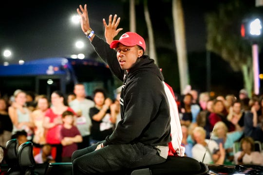 Sammy Watkins, a South Fort Myers High School grad, was an honorary grand marshal for the Grand Parade at the 82nd annual Edison Festival of Lights on Saturday, Feb. 15, 2020.