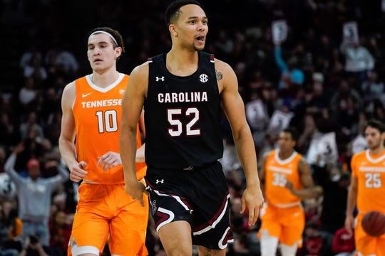 Feb 15, 2020; Columbia, South Carolina, USA; South Carolina Gamecocks guard Jair Bolden (52) reacts after making a go ahead three point basket against the Tennessee Volunteers during the second half at Colonial Life Arena. Mandatory Credit: Jim Dedmon-USA TODAY Sports
