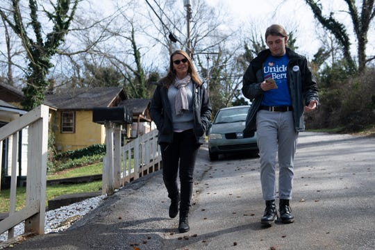 Annie McFall and her son Scott, of Taylors, canvass in Greenville on behalf of the Bernie Sanders campaign Saturday, Feb. 15, 2020.