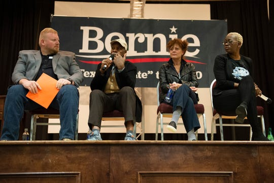 Former Ohio state Sen. Nina Turner Nina Turner (from right), Susan Sarandon, Danny Glover and J.L. Mann teacher Clifford Lee talk to the audience during an event held by Bernie Sanders' campaign at the West End Community Development Center Saturday, Feb. 15, 2020.