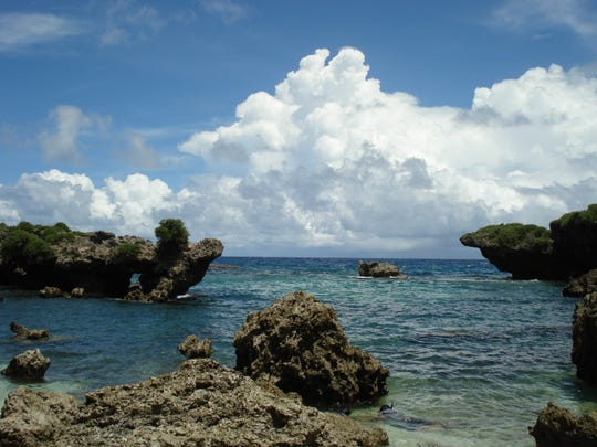 Descend the long, fairly steep northwest cliff line to a beautiful isolated cove ideal for jumping, swimming, snorkeling and possible reef walking if the water is calm.