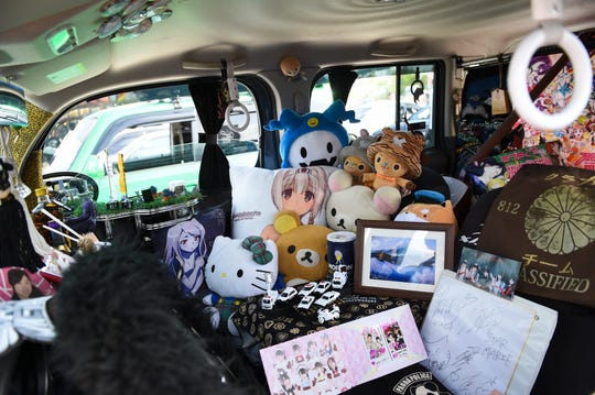 The Japanese pop culture-themed interior of Marco Ferenandez's 2014 Nissan Cube is displayed during Battle Showcase 4 at Guam International Raceway in Yigo, Feb. 15, 2020.