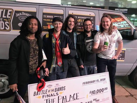 The Palace (from left, Ray Hutchins, Cameron Helm, Ben Marcus, Bill Eckhart and James Knott) emerged victorious Saturday at the MOKB Presents Battle of the Bands.