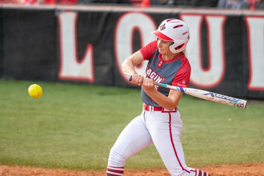 Kendall Talley, shown here in a win over LSU earlier this season, had a big day for the UL softball team Saturday as the Ragin' Cajuns beat Oklahoma State and Ole Miss.