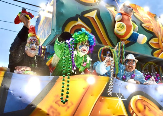 The Krewe of Carnivale en Rio helped kick off Lafayette's parades Saturday, the first major Mardi Gras parade to roll through the city streets.