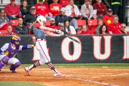 UL's Sarah Hudek homers against LSU at Lamson Park earlier this season.