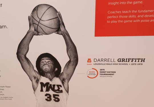 Darrell Griffith, a standout from Louisville Male High School from 1972-1976, is featured in an exhibit at the Kentucky High School Basketball Hall of Fame in Elizabethtown, Ky. on Feb. 14, 2020.