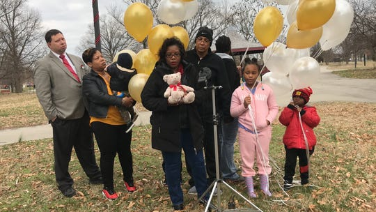 Mykhi Brown's family gathers to say goodbye to the 16-year-old on Sunday at Petersburg Park.