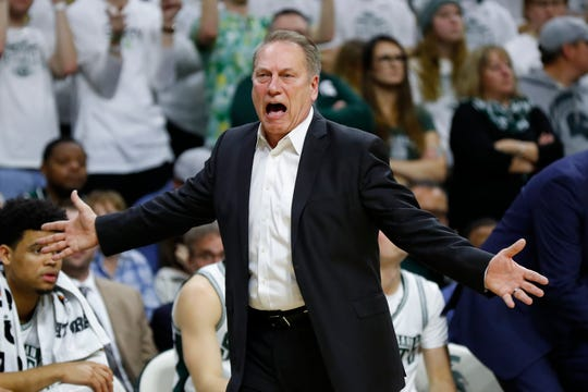 Michigan State head coach Tom Izzo reacts to a call against Maryland in the first half of an NCAA college basketball game in East Lansing, Mich., Saturday, Feb. 15, 2020. (AP Photo/Paul Sancya)