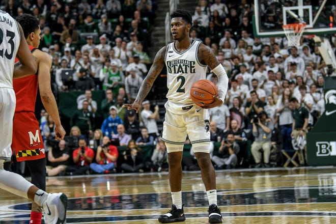"""Rocket Watts has been studying Cassius Winston on film, """"watching his every move,"""" in anticipation of taking over as MSU's starting point guard."""