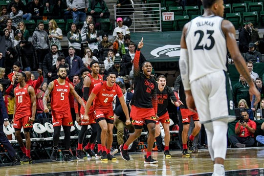 Maryland's bench reacts after beating Michigan State 67-60 on Saturday, Feb. 15, 2020, at the Breslin Center in East Lansing.