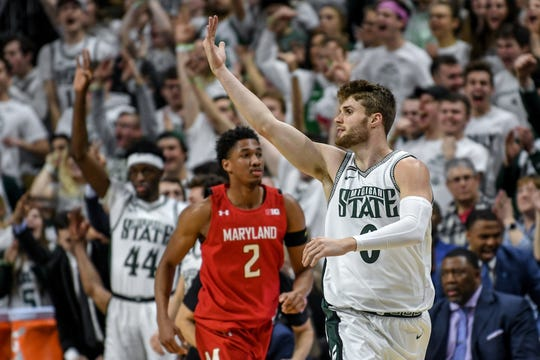 Michigan State's Kyle Ahrens celebrates after making a 3-pointer during the second half on Saturday, Feb. 15, 2020, at the Breslin Center in East Lansing.