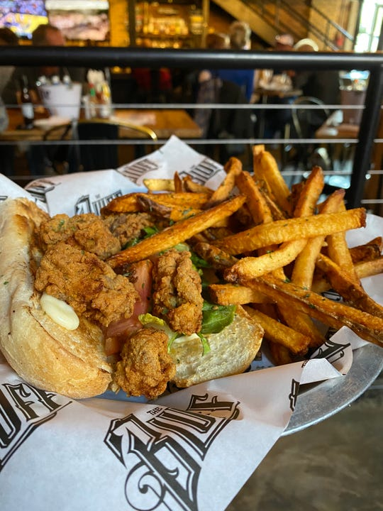 Fried oyster po-boy at The Bluff.