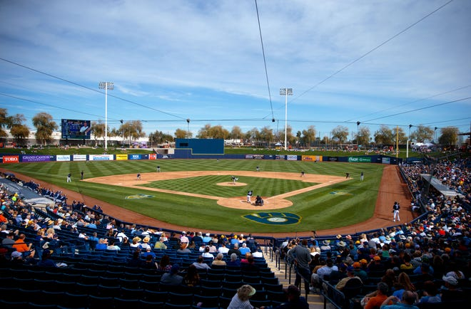 The Milwaukee Brewers host the San Diego Padres during a spring training game Feb. 26, 2019, at Maryvale Baseball Park. The Brewers put more than $60 million into renovating and expanding their training complex.