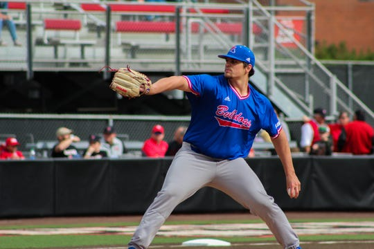 Louisiana Tech redshirt sophomore pitcher Jonathan Fincher (47) dazzled in his first collegiate start versus Louisiana-Lafayette at M.L. Tigue Moore Field at Russo Park Saturday, Feb. 15, 2020.