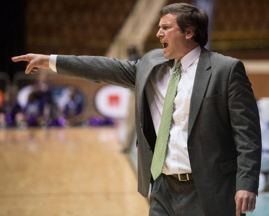 Pike Road coach Robb McGaughey talks to his team from the sideline during the Class 3A boys Southeast Regional semifinal at Garrett Coliseum in Montgomery, Ala., on Saturday, Feb. 15, 2020.