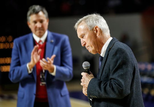 Former Belmont head basketball coach Rick Byrd pauses as he speaks to fans before the game against Jacksonville State after having the court named in his honor Saturday, Feb. 15, 2020, in Nashville, Tenn. Behind him is athletic director Scott Corley.