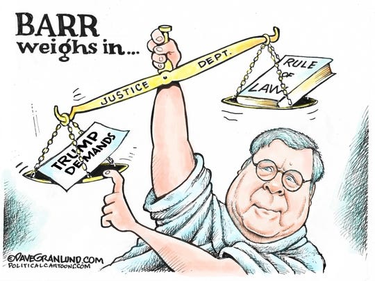 Barr tips scales of justice.