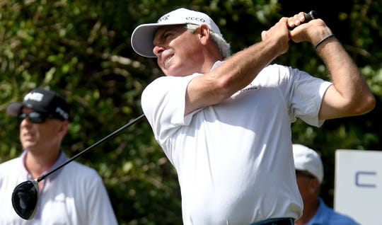 Fred Couples tees off on the 8th hole during the final round of the Chubb Classic at the Lely Resort in Naples on Sunday, Feb.16, 2020.