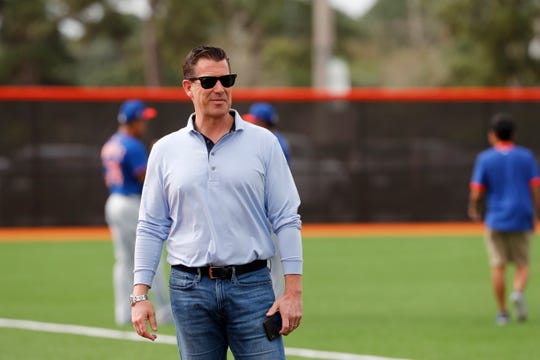 New York Mets general manager Brodie Van Wagenen watches spring training baseball practice Saturday, Feb. 15, 2020, in Port St. Lucie, Fla.