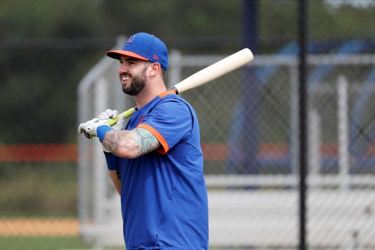 New York Mets' Tomas Nido puts takes batting practice during spring training baseball practice Saturday, Feb. 15, 2020, in Port St. Lucie, Fla.