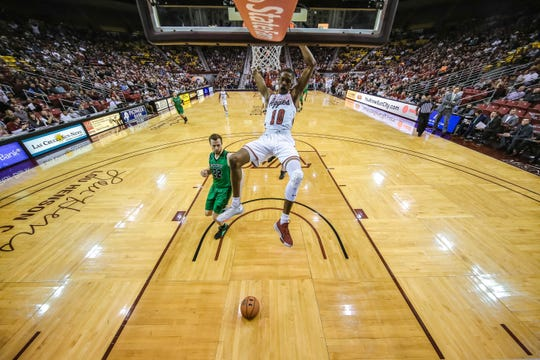 The New Mexico State Aggies face off against the Utah Valley Wolverines at the Pan American Center in Las Cruces on Saturday, Feb. 15, 2020.