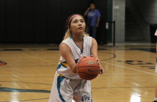 Navajo Prep's Laila Charley shoots a free throw against Thoreau during a District 1-3A girls basketball game on Thursday, Feb. 13, 2020, at the Eagles Nest in Farmington. Prep remains No. 1 in the latest 3A girls basketball poll.