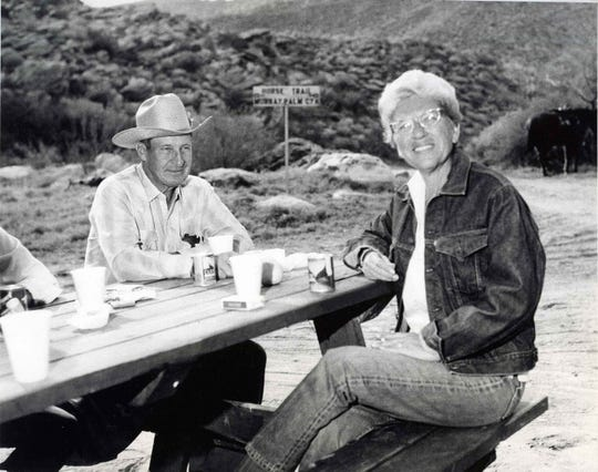 Art Smith and Jane Lykken Hoff relax at a picnic table in Andreas Canyon.