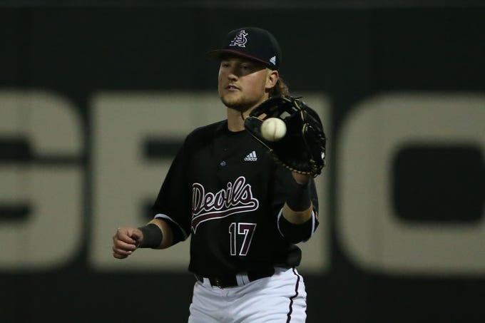 ASU right fielder Myles Denson (17) fields the ball against Villanova during their game at Phoenix Municipal Stadium Tempe Feb 14, 2020.