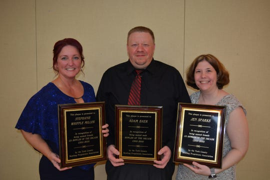 Adam Baer, center, has been named Male Bowler of the Decade by the York County Bowling Proprietors Association, while Stephanie Whipple Miller, left, and Jen Sparks, have been named the Female Co-Bowlers of the Decade.
