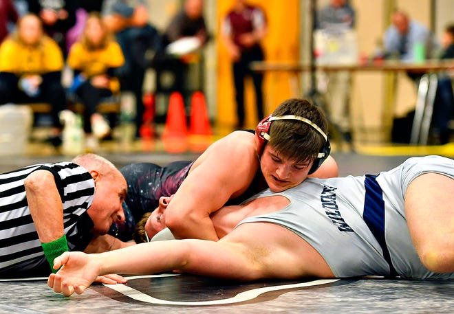 Gettysburg's Max Gourley, seen here at top in a file photo, went 5-0 on Saturday at the Gettysburg Duals. The Warriors went 5-0 as a team to capture the team championship.